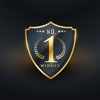 No. 1 winner badge label golden design