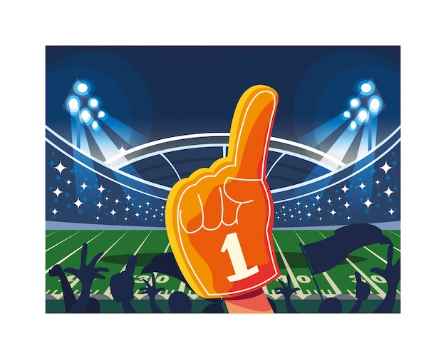 Ручная перчатка с веером № 1, палец из желтой пены