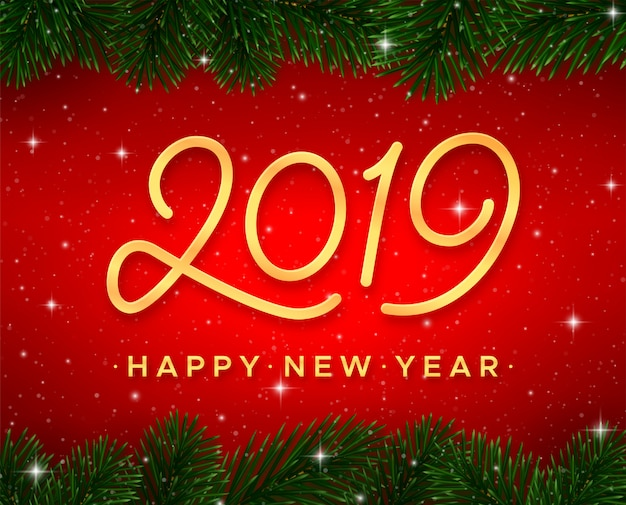 Открытка с новым годом. золотой каллиграфия № 2019