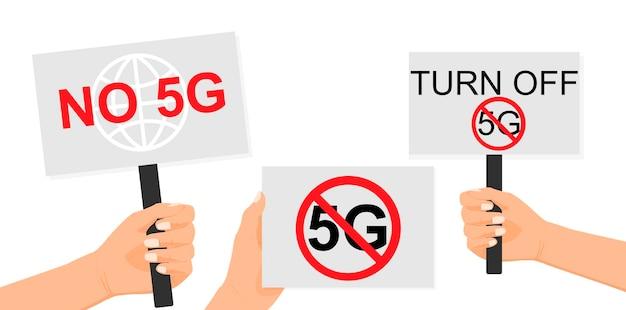 Нет 5g прекратите выключить 5g рука держит плакат протеста протест свободы концепция революции
