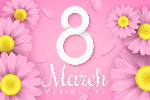 Международный женский день. розовые реалистичные цветы ромашки. пригласительная открытка. бумага № 8 с текстом. романтическая композиция. праздничный веб-баннер.