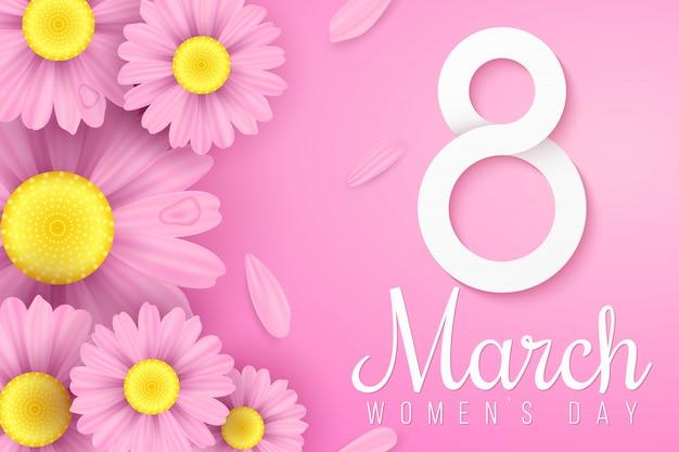 Международный женский день. цветы розовые ромашки. пригласительная открытка. бумага № 8 с текстом. романтическая композиция. праздничный веб-баннер.