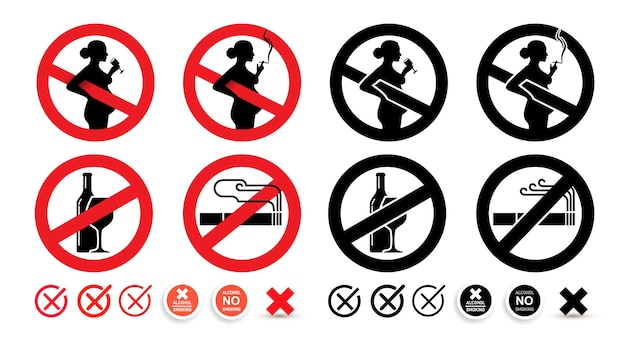 No alcohol sign, no smoking sign. warning pregnant women should not drink and smoke.