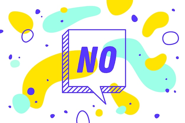 No. banner, speech bubble, poster and sticker concept, geometric style with text no. icon balloon with quote message no for banner, poster. explosion burst .