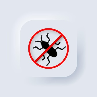 버그 아이콘이 없습니다. 벡터. 곤충이 없습니다. 기생충, 개미, 바퀴벌레. neumorphic ui ux 흰색 사용자 인터페이스 웹 버튼입니다. 뉴모피즘. 벡터 일러스트 레이 션