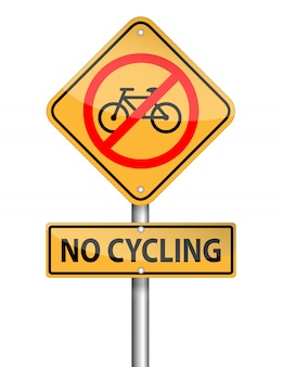 No cycling sign pole, vector on white