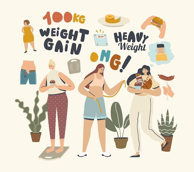 다이어트 개념이 없습니다. 여성 캐릭터 체중 증가. 여성들은 건강에 해로운 식사, 패스트푸드 스낵을 즐기는 무거운 식사와 패스트푸드 버거, 초콜릿, 도넛, 소다 음료를 먹습니다. 선형 사람들 벡터 일러스트 레이 션