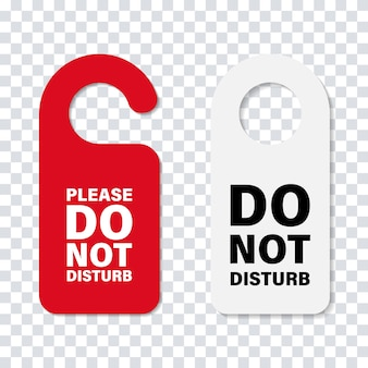 Do no disturb handle door sign. isolated hotel service cardboard sign. hotel door message.