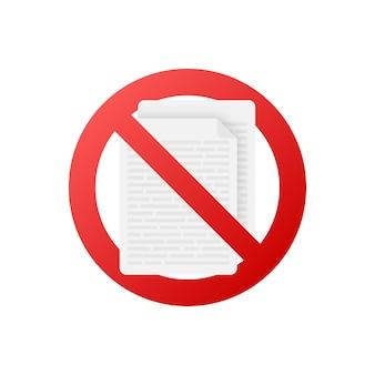 Никаких документов в плоском стиле на красном фоне. векторный дизайн. иконка бизнес. плоский дизайн.