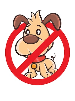 No dog sign - vector cartoon character