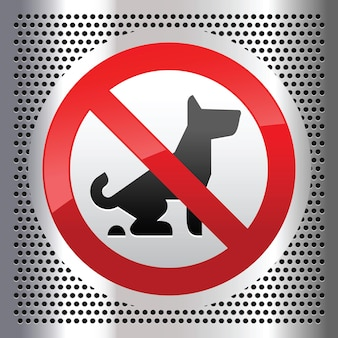 No dogs symbol on a metallic perforated stainless steel sheet
