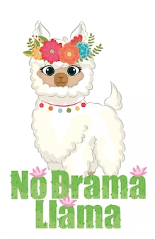 No drama llama chibi quotes graphic with flower wreath and cactus