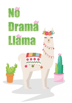 Без драмы ламы графика с цветочным венком и кактусом