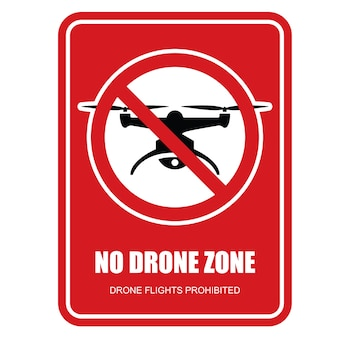 No drone zone restrictive sign - quadcopter flights prohibited