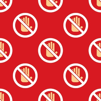 No entry hand icon pattern. stop sign background