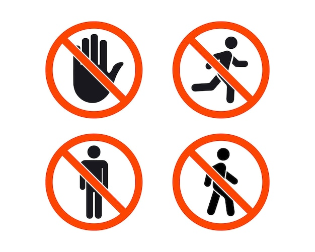No entry sign. stop signs collection. man stands, walk and run. people symbol. hand stop and no man walk . prohibitory signs pedestrians. no entry. the sign of the stop. the hand in the red circle
