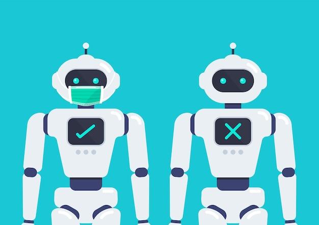 바이러스 covid19 벡터 일러스트레이션을 방지하기 위해 보호 의료 마스크를 착용한 얼굴 마스크가 없는 android 로봇