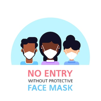 No entry without face mask, people wearing face mask isolated on white, flat style