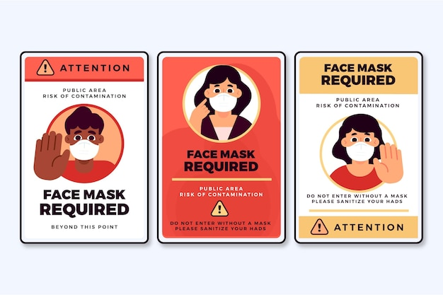No entry without face mask sign set