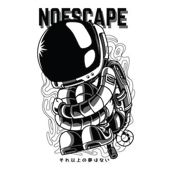 No escape black and white illustration