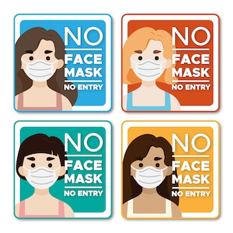 No face mask no entry women character sign
