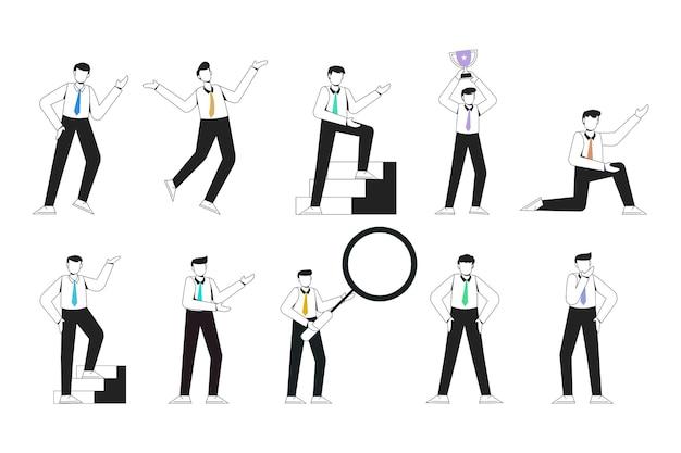 Представление персонажа работника молодого человека без лица установлено с жестом руки. мужчины деловые люди стоя. бизнесмен с контуром стиля изолированных векторные иллюстрации.