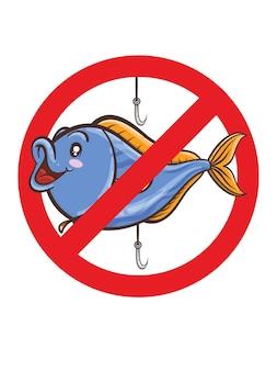 Знак запрета рыбалки, мультяшном стиле