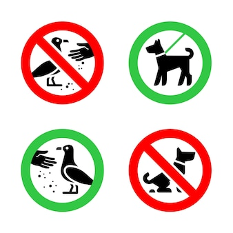 No fouling dog and do not feed birds forbidden signs
