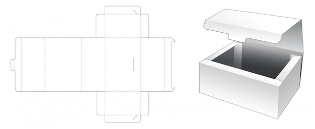 No glue box die cut template design