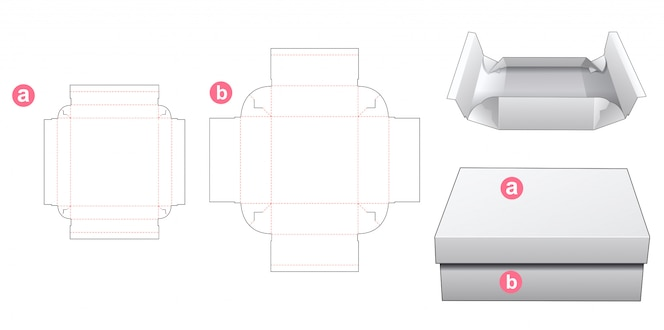 蓋ダイカットテンプレートデザインの接着剤ボックスなし