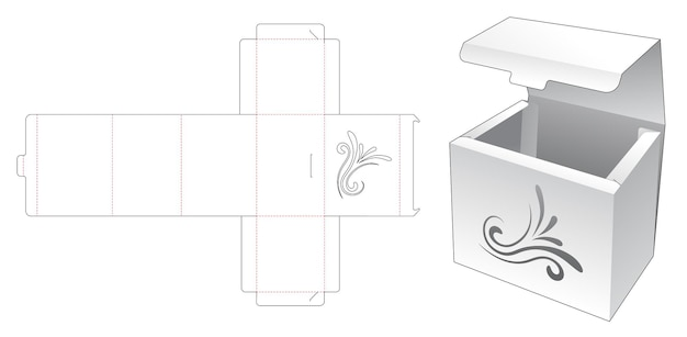 스텐실 웨이브 다이 컷 템플릿이있는 접착제 상자 없음