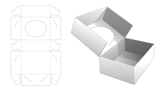 接着剤のないケーキボックスと上部ディスプレイウィンドウのダイカットテンプレート