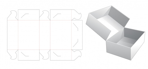 No glue cake box die cut template