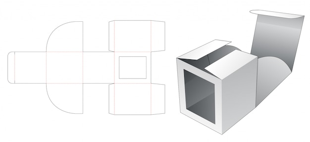 No glue cardboard box with window die cut template