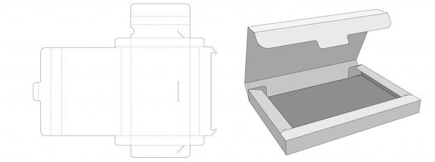 No glue document box die cut template design