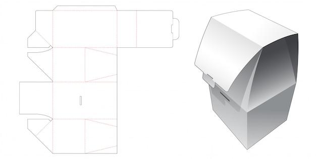 No glue folding packaging box die cut template