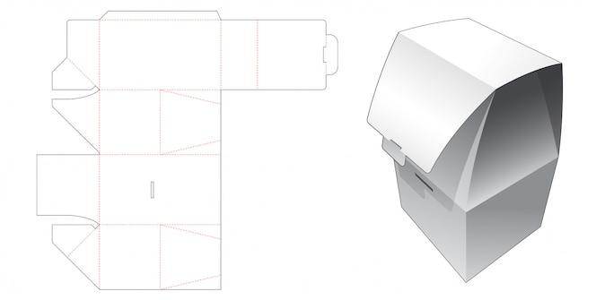 Modello fustellato per scatola da imballaggio pieghevole senza colla