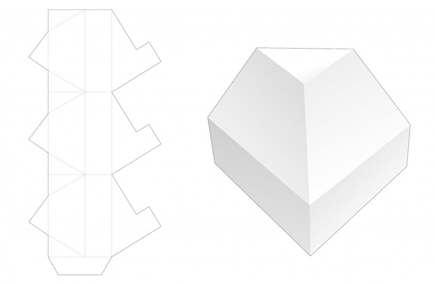 No glue triangular packaging box die cut template