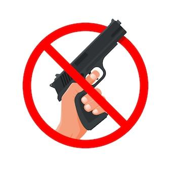 No guns, hand holding weapon.  illustration