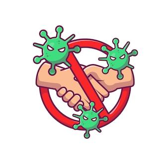No hand shake stop sign illustration.
