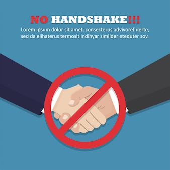 No handshake concept in a flat design.