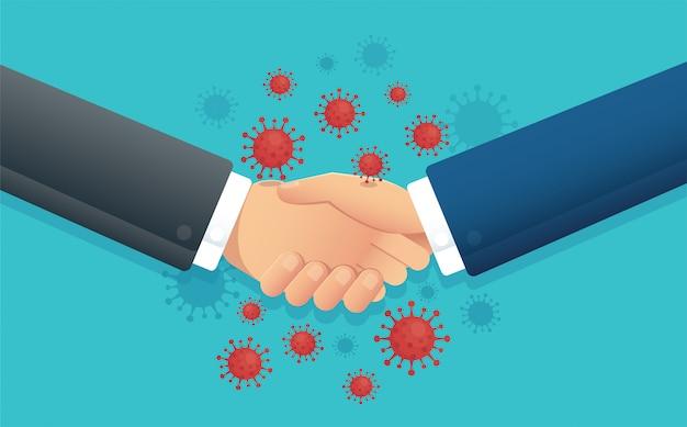 No handshake concept , social distance , coronavirus
