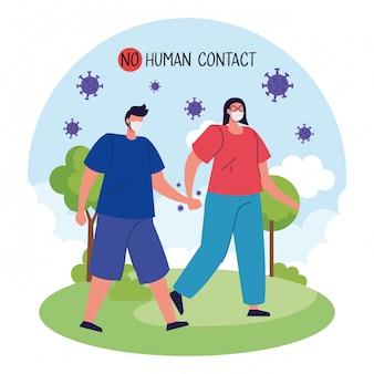 Нет контакта с человеком, пара, использующая маску в ландшафте