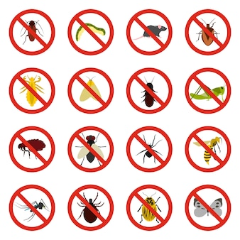 No insect sign icons set