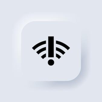 Нет значка подключения к интернету. слабый, сигнал отсутствует, антенна плохая. плохая концепция проблем подключения. белая веб-кнопка пользовательского интерфейса neumorphic ui ux. неоморфизм. вектор eps 10.