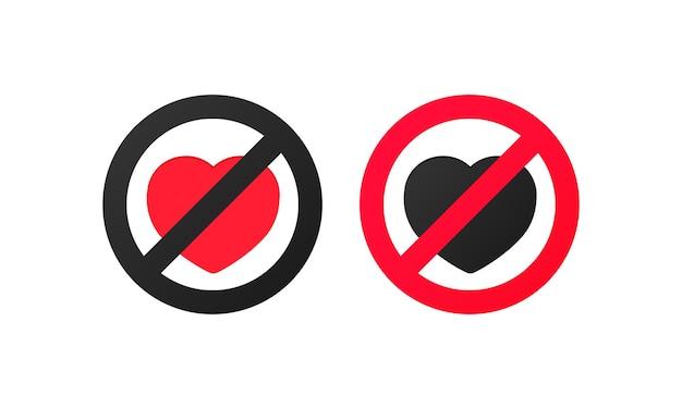 사랑의 흔적이 없습니다. 마음으로 빨간색 교차 원형 금지 기호의 벡터