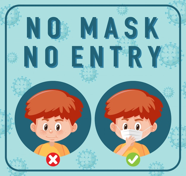 No mask no entry sign with cartoon character