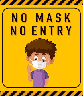 No mask no entry warning sign with cartoon character