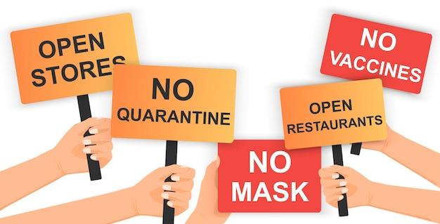 Нет маски, нет карантина, открытые магазины, открытые рестораны, нет вакцины. рука держит плакат с протестом.