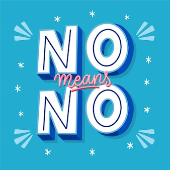 No means no creative lettering on blue background